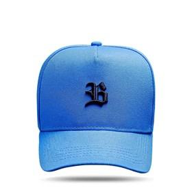 Boné Kids Snapback Basic Azul Celeste Logo Preto
