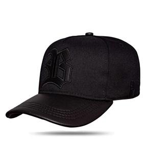 Boné Snapback Aba Couro All Black