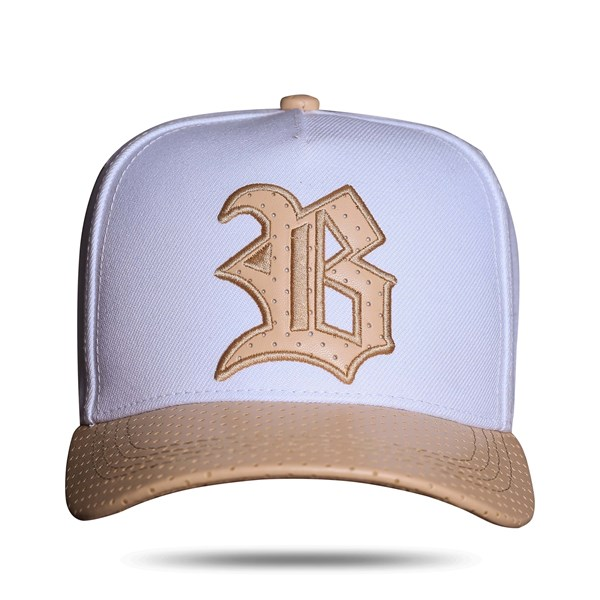 Boné Snapback Aba Couro Perfored Bege