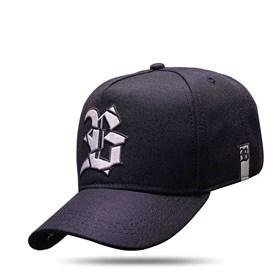 Boné Snapback All Black Logo Verniz Prata