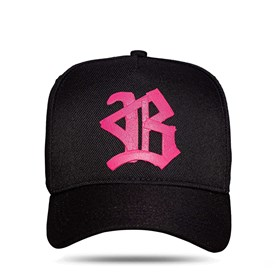 Boné Snapback All Black Ribbon Logo Pink