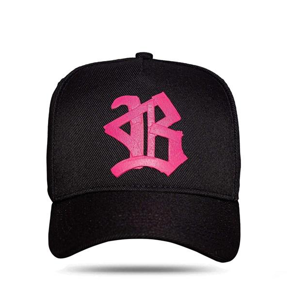 Boné Snapback All Black Ribbon Logo Pink