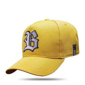 Boné Snapback Amarelo Logo Couro Prata