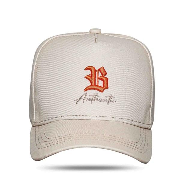 Boné Snapback Authentic Bege Logo Orange