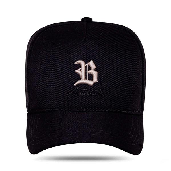 Boné Snapback Authentic Black Logo Bege