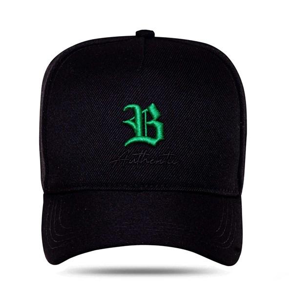 Boné Snapback Authentic Black Logo Green