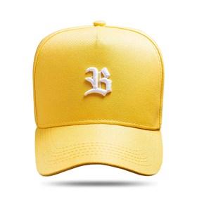 Boné Snapback Basic Amarelo Logo Branco
