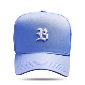 Boné Snapback Basic Azul Claro Logo Branco