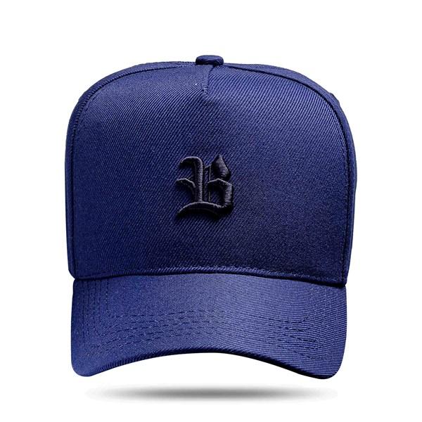 Boné Snapback Basic Azul Marinho Logo Preto