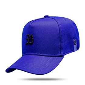 Boné Snapback Basic Azul Royal Logo Preto