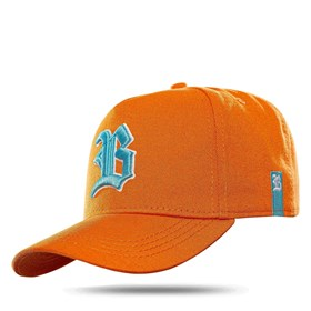 Boné Snapback Basic Colored Orange Logo Blue