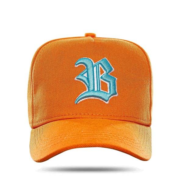 Boné Snapback Basic Colored Orange Logo Blue