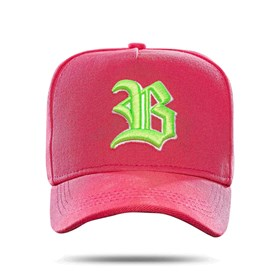 Boné Snapback Basic Colored Pink Logo Green