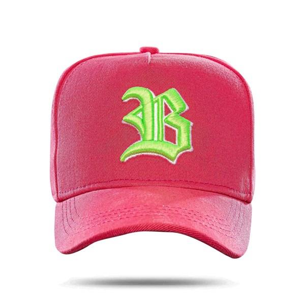 Boné Snapback Basic Colored Pink Logo Green
