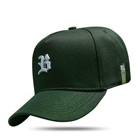 Boné Snapback Basic Verde Escuro Logo Branco