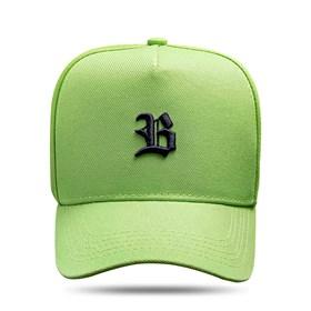 Boné Snapback Basic Verde Limão Logo Preto