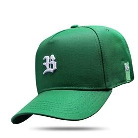 Boné Snapback Basic Verde Logo Branco