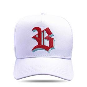 Boné Snapback Branco Logo Shadow Vermelho