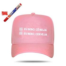 Boné Snapback Eu Bebo, Cê Beija Pink - Israel e Rodolffo