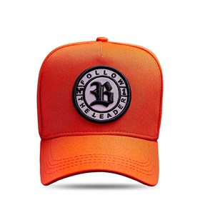 Boné Snapback Follow All Orange Logo Black