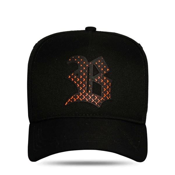 Boné Snapback Heart Perfored Orange Black