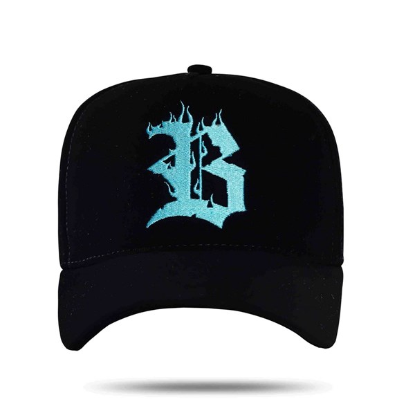 Boné Snapback Logo Flames Blue Black