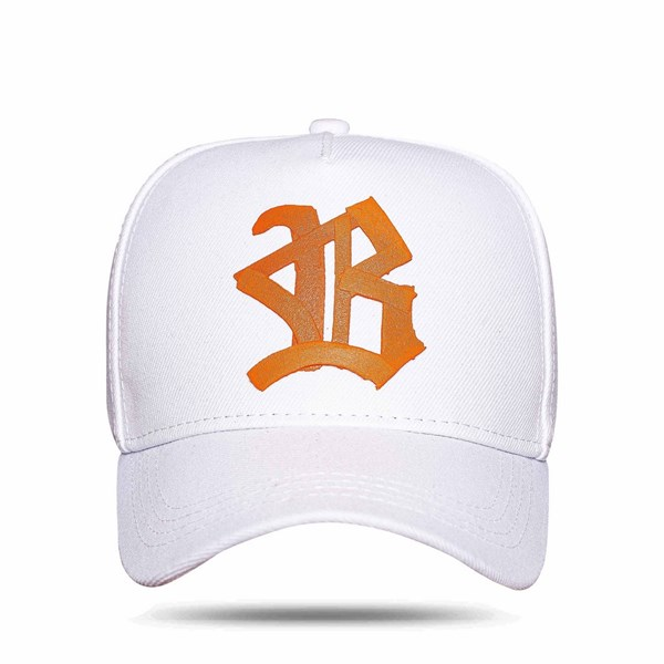 Boné Snapback Logo Ribbon White Orange