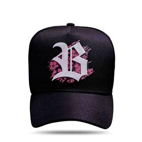 Boné Snapback Logo Silk Flowers Coral Black