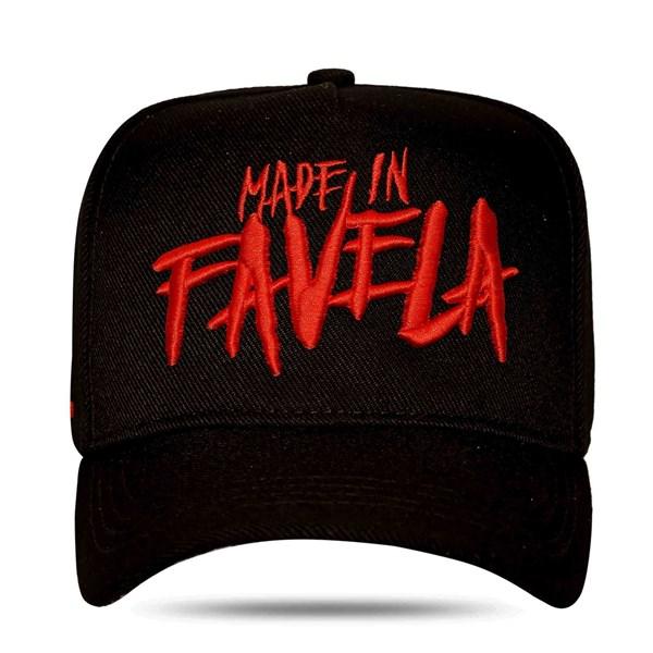 Boné Snapback Made In Favela Black Red - Hungria