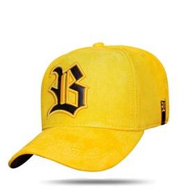 Boné Snapback New Suede Yellow Logo Black