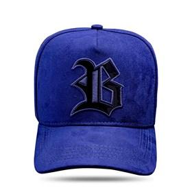 Boné Snapback Suede Azul Marinho Logo Black Piano