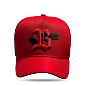 Boné Snapback Vermelho Logo Strip Preto