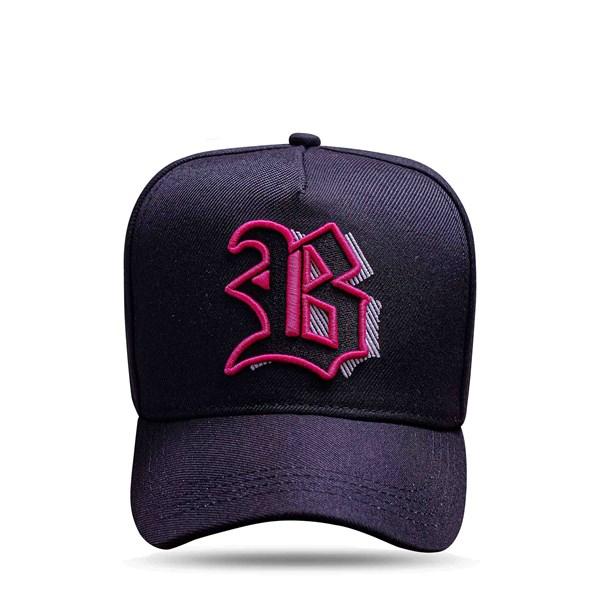 Boné Strapback All Black Logo Pink Shadow 3D
