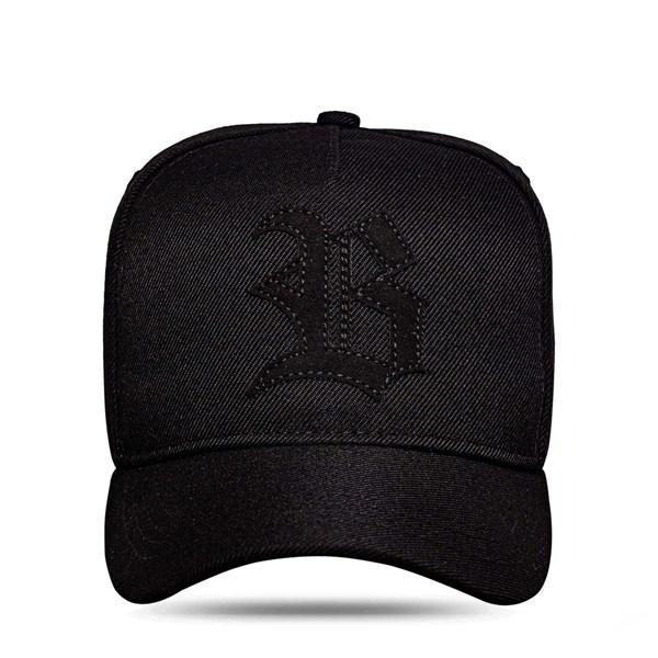 Boné Strapback All Black Logo Suede