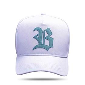 Boné Strapback Branco Logo Suede Verde Água