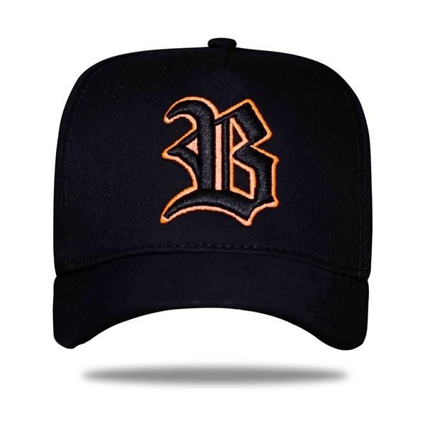 Boné Strapback Logo Black Orange