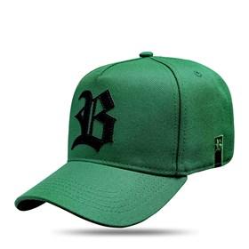 Boné Strapback Verde Bandeira Logo Suede Preto
