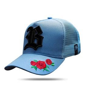 Boné Trucker New Edition Roses Blue