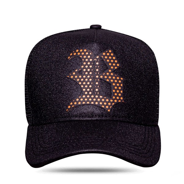Boné Trucker Perfored Black Logo Orange