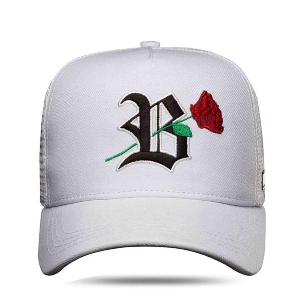 Boné Trucker Roses White