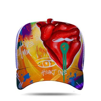"Boné Trucker Sublimado ""Expressions From The Heart"" Branco - Blck/Nathan Henrique"
