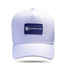 Boné Trucker Tag Number One Branco Logo Azul