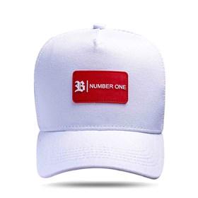 Boné Trucker Tag Number One Branco Logo Vermelho