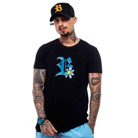Camiseta Blck All Black Logo Blue Flowers