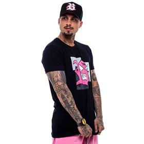 Camiseta Blck All Black Logo Pink