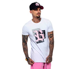 Camiseta Blck All White Logo Rosa