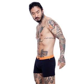 Cueca Boxer Blck Black Orange