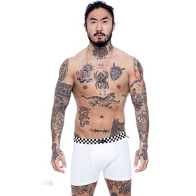 Cueca Boxer Blck Grid White
