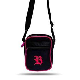 Shoulder Bag Black Basic Logo Pink